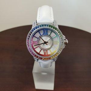 DMQ Multicolor Rainbow Crystal Womens White Watch